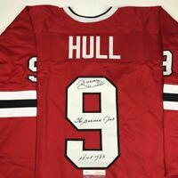 Autographed/Signed BOBBY HULL HOF 1983 The Golden Jet Chicago Red Jersey JSA COA