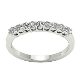 SI1 G Natural Diamond Engagement Wedding Stackable Ring 0.75 Ct 14K White Gold