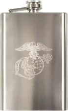 USMC Globe & Anchor Engraved Marines Stainless Steel Flask 8 oz