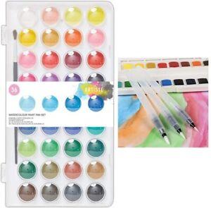 Set Of 3 Water Brush Pen + 36 Colour Artiste Water Colour Paint Pan Set