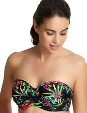 Panache Anya Bandeau Bikini Top SW1293 New Swimwear Black Palm Print