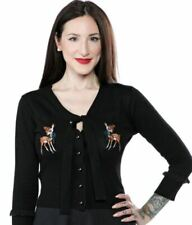 Sourpuss Black /& White Striped Sex Pistols Cardigan with Red Logo on Back from Clothing