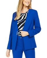Calvin Klein Women's Collarless Single-Snap Blazer Blue Size 8 rrp$115  (sku)