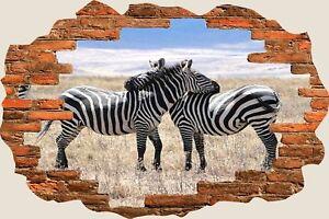 3D Hole in Wall 2 Zebras In Safari View Wall Stickers Mural Art Wallpaper 245