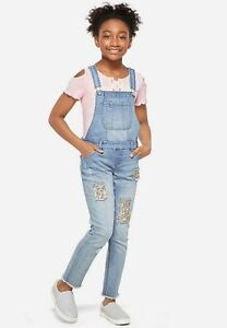 Justice Girls Flip Sequin Destructed Overalls Size 14 - NEW NWT