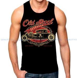 Men's OLD SKOOL Black Tank Top auto shop classic rat hot rod Ford Chevy vintage
