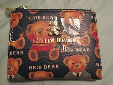 Ladies Fashion Grid Bear Double zipper cantoon wallet