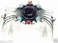 TAXCO MEXICAN STERLING SILVER AMETHYST TURQUOISE FLORAL CUFF BRACELET MEXICO