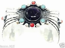 Turquoise Floral Cuff Bracelet Mexico Taxco Mexican 925 Sterling Silver Amethyst