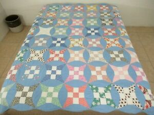 Vintage Feed Sack Hand Pieced & Quilted CURVED NINE PATCH Very Thin Quilt; FULL