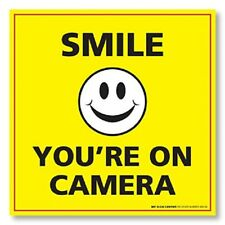 (2 Pack) Smile You're On Camera Sticker - Security Surveillance Camera Warning S