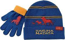 LION KING HAKUNA MATATA Blue Knit Cuffed Winter Beanie Hat & Gloves Set NWT  $20