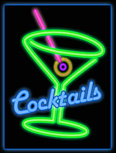 Neon Style Retro Cocktail Metal Signs Choose Colour Home Decor, Home Bar, Gift