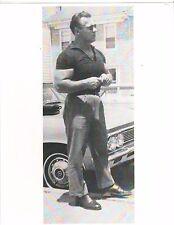 bodybuilder JOHN GRIMEK Muscle Shirt with his Car Bodybuilding Muscle Photo B+W