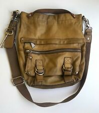 FOSSIL Womens OLIVE GREEN Leather Key Messenger Shoulder Bag Used Good Condition