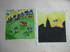 Thai batik arts cloth painted with hand craftsmanirship souvenir(2 pieces) MBT05
