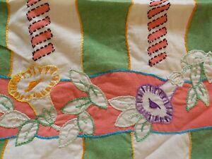 3 Vintage PILLOW COVERS Cotton & Embroidery 1930s Unfinished Geometric Floral