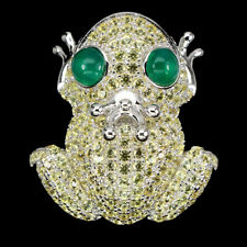 Yellow Sapphire Round Diamond Cut Aventurine 925 Sterling Silver Frog Ring 8.5