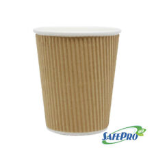 SafePro Eco Sb40, 8 Oz Double Wall Biodegradable Kraft Ripple Hot Cups, 500/Cs