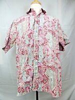 Go Barefoot Hawaiian Aloha Shirt Mens Sz XL Tiki Geometric Reverse Print