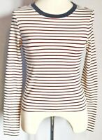 Forever 21 Women's Top White Blue Red Size S UK 8 Cotton Mix Striped Cropped VGC