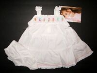 YoungLand Girls 2pc White Pastel Trim Spring Summer Dress size 3-6 Month NWT