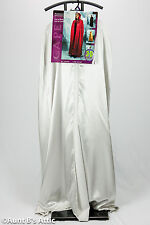 Cape Silver Full Length Hooded Poly Satin Mardi Gras Halloween Cape W/ Half Mask