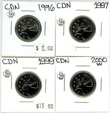 1996 1997 1999 2000W Canada 25 Cents Lot of 4 Uncirculated from Sets #12952