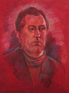 Vintage pastel painting male portrait