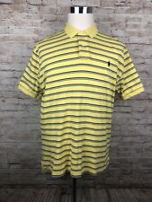 Polo Ralph Lauren Yellow Striped Men's Short Sleeve Polo Shirt Large - G3
