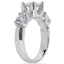 2.41 carat 5 stone Round DIAMOND ENGAGEMENT RING Wedding Band 18k White Gold