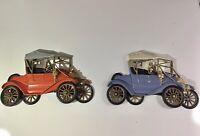 Vintage Blue & Orange Ford Wall Decor 3D Plaque Model T Set Of 2 By Burwood 1977