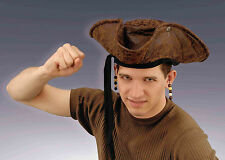Brown Distressed Pirate Hat with Attached Beads Unisex Pirate Adult Size