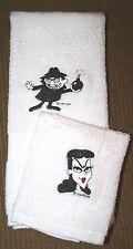 """Boris & Natashia"" 1 White Hand towel&1 cloth w/black thread embroidery"
