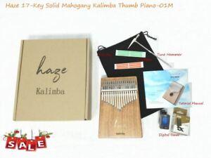 Haze 01M Solid Mahogany Kalimba MBIRA Thumb Piano,17-Key+Tutorial Manual,Tuner