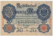 20 Mark 1910 ,  Rosenberg 40a , KN 6stelig  , UNC  , kassenfrisch