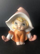 "Vintage Homco Pixie Elf Gnome Fairy Girl 5213 Orange Hat Figurine 4"" Tall"