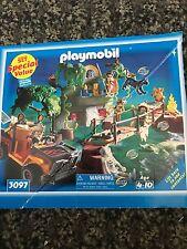 Vtg 90s Playmobil Adventure Set Jungle Safari Set Jeep Temple Steps 3097