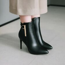 Women Stiletto Heels Pointy Toe Ankle Boots Fashion Metal Decor Zip Shoes Party