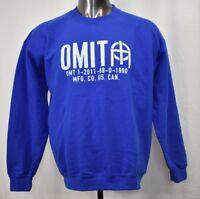 OMIT Apparel Mens Skateboarder Brand Blue Crew Shirt Sweatshirt New L