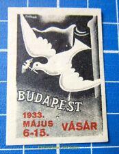 Cinderella/Poster Stamp - 1933 Hungary Budapest Vásár 879