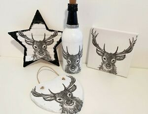 STAG gift set, Light up bottle, slate, canvas, wooden star, Canvas. home decor