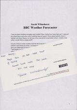 Sarah Wilmshurst BBC Weather Forecaster Schooldays. Letter ref: RC.33