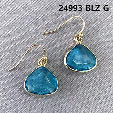 Gold Finished Blue Stone Triangle Teardrop Shape Drop Dangle Hook Earrings