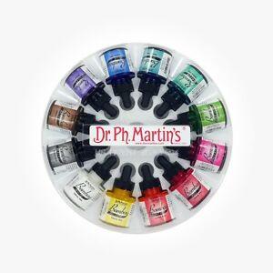 Dr Ph Martins Bombay Indian Ink - 12 x 30 ml (1 oz) Set 1 - NEW style !