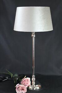 Elegante Table Lamp Foot Nickel Silver High Gloss Umbrella Velour Light 54cm