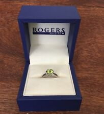 Size 6 White Gold Heart Shaped Peridot and Diamond Ring Brand New