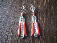 Prächtige Ohrringe Hänger im Art Deco Stil 925er Silber Markasit Emaille rot