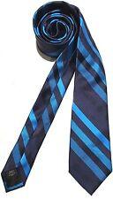 Mens Express Neck Tie Slim Skinny 100% Silk Navy Royal Blue Narrow New