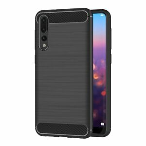 For Huawei P20 Pro Carbon Fibre Soft Protective Shockproof Case Cover Black